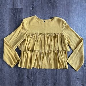 EUC Yellow Silk Ruffled Long Sleeves Top Blouse S